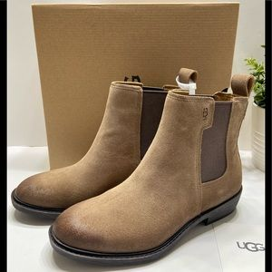 NEW Ugg Emmeth Women's Suede Leather Ankle Ground Boots Booties Brown Size 8